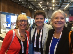 ISNCC members at the World Cancer Congress.  Left to right: Tish Lancaster (Australia), Julia Downing (Uganda), Linda Krebs (USA)